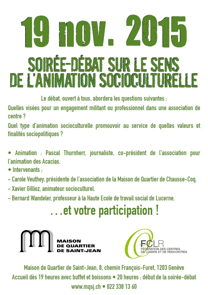 Flyer SOIRÉE-DÉBAT SUR LE SENS DE LANIMATION SOCIOCULTURELLE 3 0 Verso